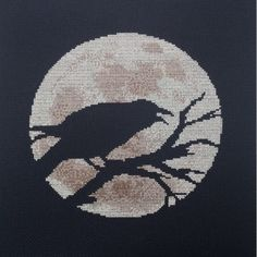 Raven Moon Cross Stitch Pattern available from my website: http://www.crafterdark.com.au/product/raven-moon-cross-stitch-pattern/