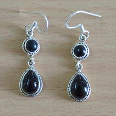 15% discount coupon code -- DEV020 Classic Design Earring of Black Onyx Silver by DevmuktiJewels