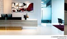 M Moser is a global workplace design company. We create architecture and interior design to help business transform the way they work. Industrial Workspace, Industrial Office Design, Office Interior Design, Office Designs, Office Ideas, Ceo Office, Office Lobby, Lobby Reception, Reception Areas