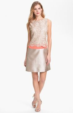 Eliza J Metallic Lace & Satin Dress available at #Nordstrom