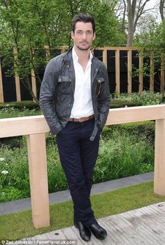 Getting into the spirit: David Gandy channels countryside glamour in a waxed jacket @ Chelsea Flower Show 5/20/13