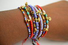 Beaded Tribal Bracelet Set of 5, Boho Jewelry, Adjustable Friendship Bracelet