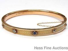 Vintage 14k Gold Genuine Diamond Natural Sapphire Classic Oval Bangle Bracelet #Bangle