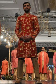 Red sherwani by HSY at PFDC L'Oreal Paris Bridal Week 2013