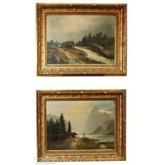 Pair Antique Framed Oil Paintings on Canvas | www.inessa.com