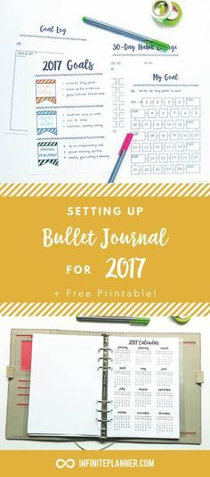 Bullet Journal New Year 2017. How to set up your bullet journal for goal tracking and more! Plus some free printables to get you started.