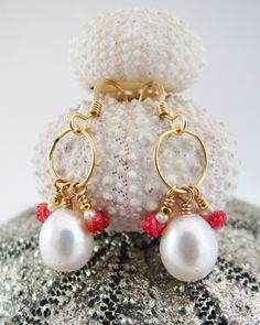 kauai girl earrings, large and tiny freshwater pearl paired with hot pink kahelelani shells and 14k gold fill, adove fine jewelry