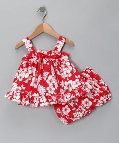 Love this Red Hibiscus Bow Dress & Bloomers - Infant on #zulily! #zulilyfinds