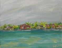 "ISLAND HOUSES. 10x8"" Original Acrylic Painting on Canvas Original available through my Etsy website.  DeborahFerreeArtCafe."