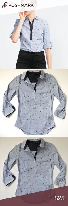 Zara basics| ancor button down blouse ◾️NWT ◾️ships in 24 hours  ◾️no trades ◾️make me an offer 🌸 Zara Tops Button Down Shirts