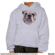 English Bulldog Dog Portrait Print Hooded Sweatshirt