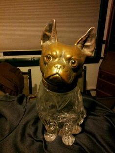 antique bronze french bulldog whiskey decanter glass eyes rare one of a kind Bulldog Images, French Bulldog Names, Whiskey Decanter, Vintage Bottles, Liquor Bottles, Sculpture, Selling On Ebay, Vintage Images, Glass Jars