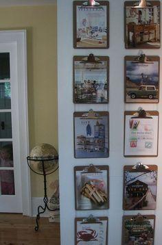 clipboards inside basement door. School lunch menu, sports schedules, invitations etc. instead of on the fridge.