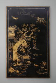 English Black Lacquer Panel