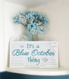 "The perfect gift for the BLUE OCTOBER fan in your life. Custom sign with ""FEAR"" lyrics as the background to It's a ""Blue October thing"" * wooden sign measures approximately 6"" X 11"" * the background is painted in an off white shabby chic look for an aged appearance. * distressed look so it ..."