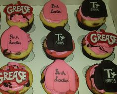 Grease movie themed birthday cupcakes!! Pink Ladies, T birds, and Grease!!! Made by Sweetthings Cupcakery!! http://www.sweetthingscupcakery.com/