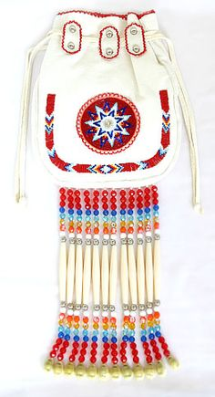 Kiowa buckskin dance purse with red/multi beadwork