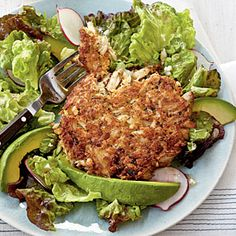 Herbed Crab Cake with Radish-and-Avocado Salad | MyRecipes.com