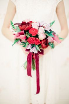 Bridal bouquet with velvet ribbons | Anastasiya Belik Photography | http://burnettsboards.com/2013/12/mixed-berry-wedding-color-palette/