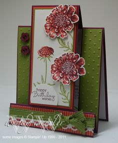 WMW Field Flowers by Wendybell - Cards and Paper Crafts at Splitcoaststampers Fancy Fold Cards, Folded Cards, Center Step Cards, Side Step Card, Shaped Cards, Card Tutorials, Cool Cards, 3d Cards, Creative Cards