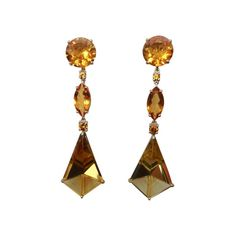 Michael Kneebone - Michael Kneebone Fantasy Cut Citrine Yellow Sapphire Dangle Earrings offered by Michael K Jewels on InCollect Marquise Cut, All That Glitters, Birthstones, 18k Gold, Dangle Earrings, Dangles, Sapphire, Fantasy, Jewels