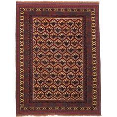 ecarpetgallery Tajik Tribal, Red Rug (, Red Dark Red, Ivory Rug )