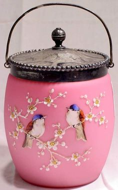Mount Washington Biscuit Jar ~ Pink Satin Glass with Enamel Birds and Dogwood Branches. Lid is Silver with Engravings  1897