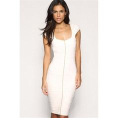 Fashion Ladies Striping Short-Sleeve Vest Dress White