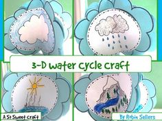 "Create a 3-D Water Cycle craft when you teach about the water cycle with this So Sweet Craft during your next weather unit. This craft is perfect to reinforce the topics taught during this science lesson and it works well as a science center too.Recent Review: ""Adorable, easy-to-assemble, hands on activity for all."