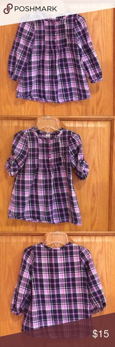 OshKosh B'gosh Tunic Top Adorable plaid Tunic Top with four buttons in the front and roll tab sleeves. 100% cotton. EUC. Osh Kosh Shirts & Tops Blouses