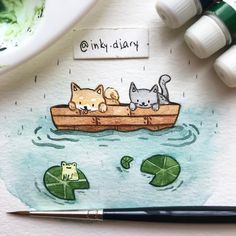 "3,797 Likes, 39 Comments - @inky.diary on Instagram: ""Gone for a boat ride (without a paddle?)  - - I've been having an art block for quite a long…"""