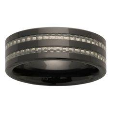 8mm Gray Carbon Fiber Inlay Black Ceramic Ring | Body Candy Body Jewelry