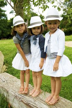 So cute; fedoras, plain shirts and white skirts