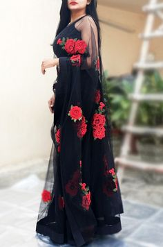 Buy Black Net Applique Saree by Colorauction Indian Gowns Dresses, Indian Fashion Dresses, Dress Indian Style, Indian Designer Outfits, Indian Outfits, Trendy Sarees, Stylish Sarees, Fancy Sarees, Stylish Dresses