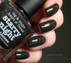 piCture pOlish Starry Night black charcoal scattered holo by llarowe