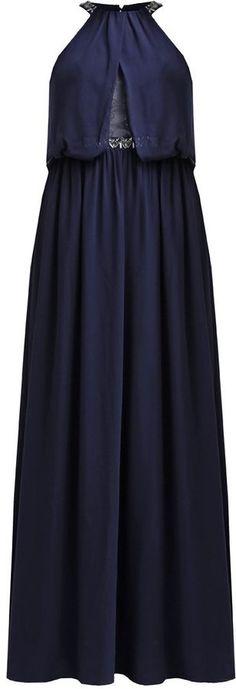 Pin for Later: 50 elegante, bodenlange Abendkleider unter 100 €  Little Mistress Neckholder-Ballkleid in marineblau (100 €)