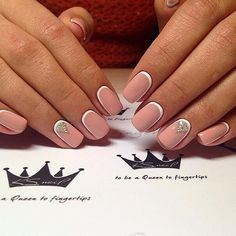 Accurate nails, Beautiful moon nails, Beige and white nails, Beige nails with rhinestones, Ideas of winter nails, Light spring nails, Manicure on the day of lovers, Natural nails
