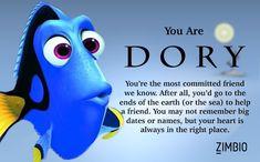 I took Zimbio's Pixar character quiz and I got Dory! Dory Quotes, Pixar Quotes, Disney Fan Art, Disney Love, Disney Pics, Disney Disney, Disney Stuff, Disney Memes, Disney Quotes