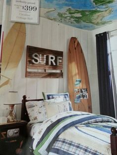 Surf Bedrooms, Surfy Bedroom, Surf Shack Bedroom, Beach Kids, Bedroom Kids, Kids Surfing Bedroom, Dream Room, Surfing Bedrooms, Boy Room