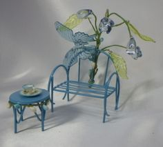 My blue butterfly fairy garden bench and table. sueskreashions@etsy.com