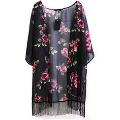 LUCLUC Floral Printed Tassels Casual 3/4 Sleeve Kimono (1.310 RUB) ❤ liked on Polyvore featuring outerwear, jackets, kimono, cardigans, tops, flower print kimono, tassel kimono, floral kimono, three quarter jacket and floral jacket