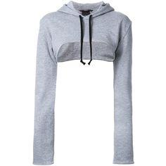 Assin cropped hoodie (£150) ❤ liked on Polyvore featuring tops, hoodies, grey, grey hoodies, cotton hoodie, grey crop top, gray hoodies and gray hoodie