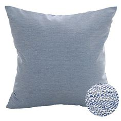 Deconovo Minimalist Textile Pillow Cover Soft Cusion Cover Faux Linen Throw Cushion Cover with Invisible Zipper Pillow Sham for Bed 18 x 18 Inch Blue 1 Piece ( Only Case, No Insert )