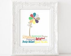 LDS Young Women Values Digital Wall Art by IttyBittyPixel on Etsy