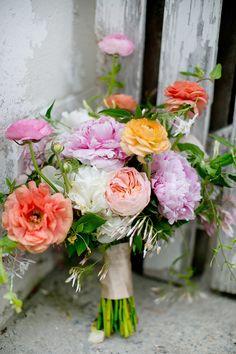 garden rose and #peony bouquet, photo by Amber Lynn Photography http://ruffledblog.com/love-grows-wedding-inspiration #flowers #weddingbouquet