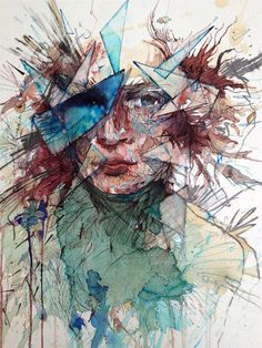 Ordered chaos in portraits by Carne Griffiths: water, brandy, whiskey, tea and vodka in portraits