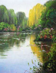 Kent wallis garden pond paintings 1 pinterest for Garden pond kent