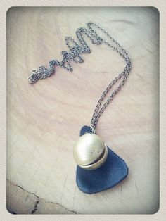 Antique brass & black leather ball locket pendant by IoannouS