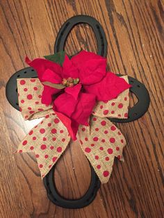 Horseshoe Cross with Poinsettia and Burlap Bow by UglyDucklingStudios on Etsy