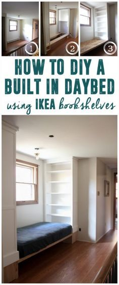 How to DIY Ikea Built Ins, Built in Daybed, Bed with Bookshelves, How to Build In Bookshelves www.BrightGreenDo… Source by BrightGreenDoor . Bookshelf Bed, Bookshelves Built In, Built Ins, Bookshelves In Bedroom, Book Shelves, Bookcases, Built In Daybed, Ikea Built In, Small Daybed